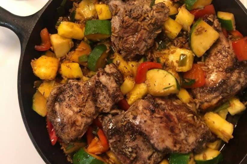 One Pan Caribbean Jerk Chicken with Pineapple-coconut Milk